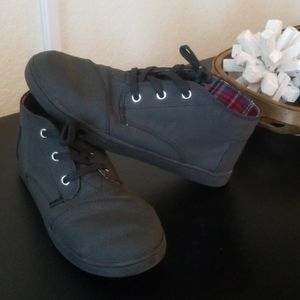 Toms Boys Black Lace Up Ankle Boots